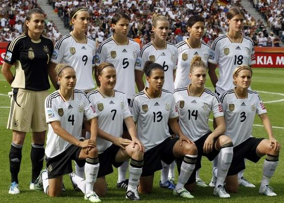 Germany-11-adidas-women-home-kit-white-black-white-line up.JPG
