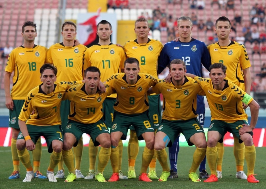 Lithuania-2014-15-hummel-home-kit-yellow-green-yellow-line-up.jpg